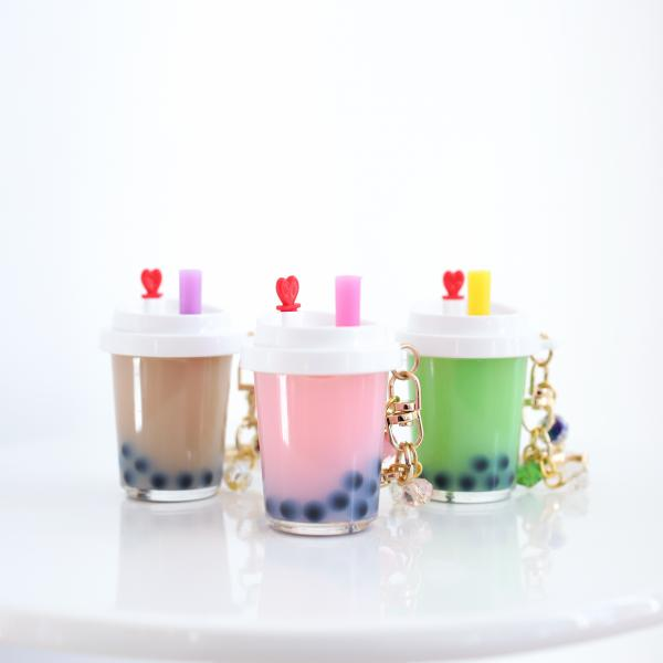 GREEN Boba Keychain with White Lid Filled with REAL LIQUID picture