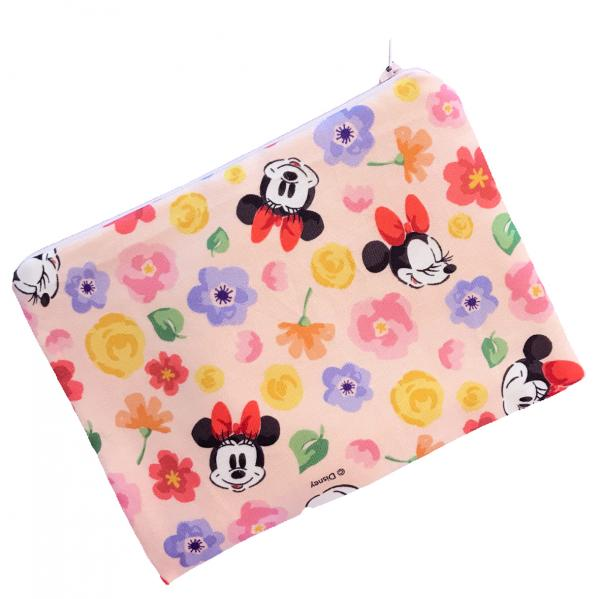 Pink Minnie Mouse Floral Zippered Pouch Bag