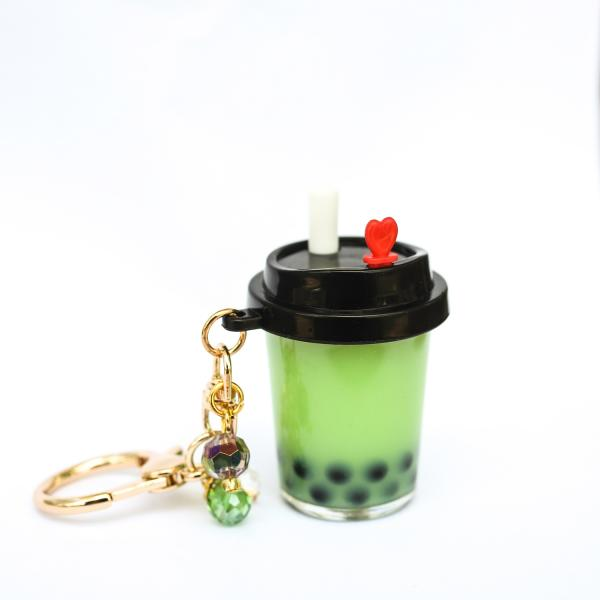 GREEN Boba Bubble Tea Keychain with REAL LIQUID