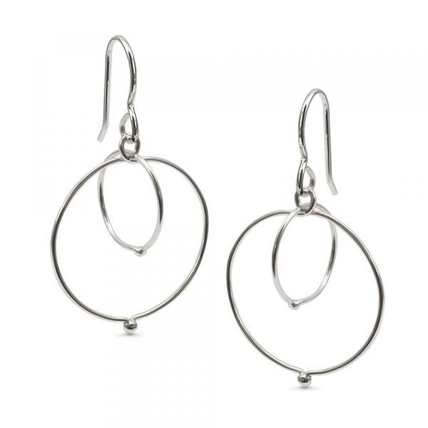 Sterling Silver-Entwined-Fused Circle-Earrings