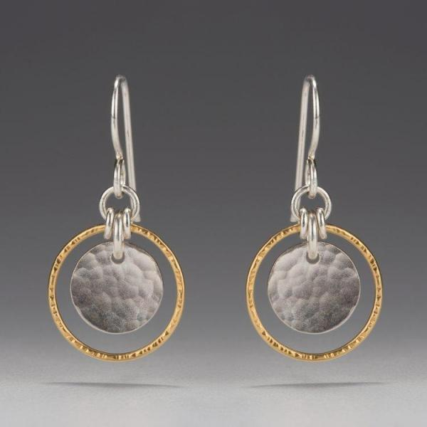 Gold Vermeil-Sterling Silver-Round-Hammered Textured-Earrings