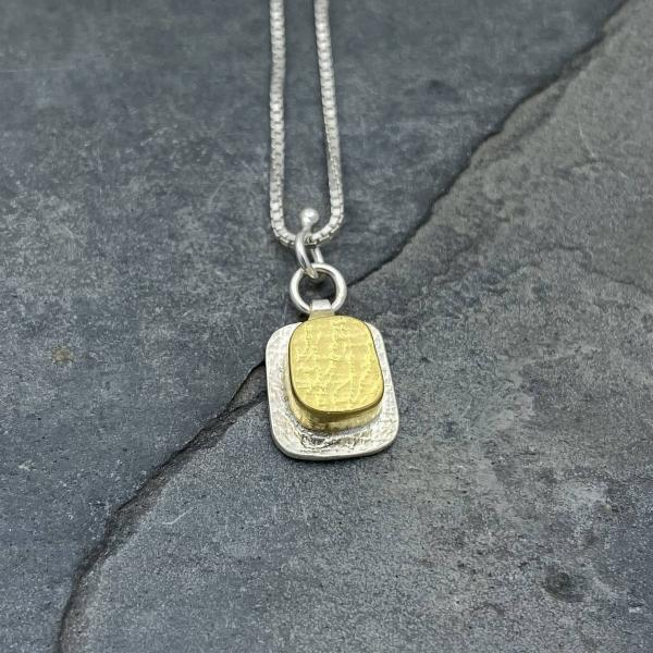 Gold Vermeil-Sterling Silver-Square-Necklace