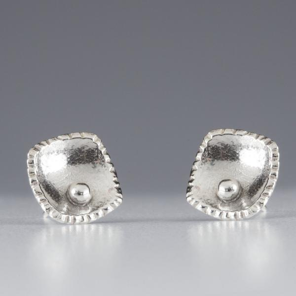 Sterling Silver-Curved Square-Stud-Earrings