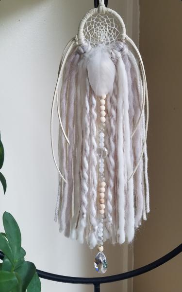cream + genuine crystals small dream catcher (sku90) picture