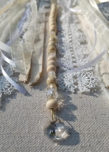 white lace + gold fox + genuine crystals dream catcher (sku531, 532)