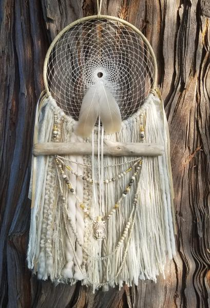 Quan Yin Buddhist dream catcher with genuine crystals (sku135)