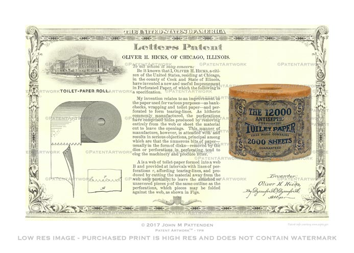 Toilet Paper Roll - Hicks 1889