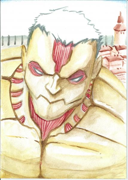 5x7 water color. Reiner-Armored Titan