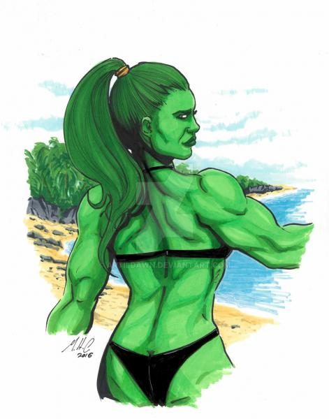 11x14 She Hulk at the beach picture