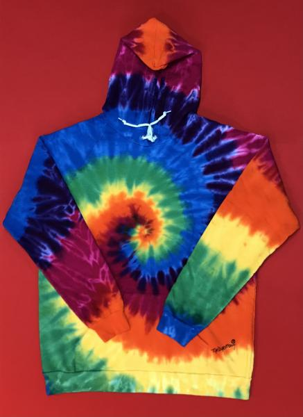 Size 2XL Rainbow Spiral Adult Fleece Pullover Hoodie picture