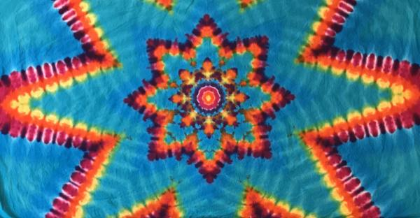 Rainbow And Turquoise Mandala Cotton Tapestry