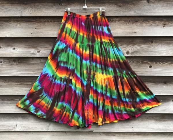 SIZE SMALL Rainbow And Brown Strata Light Rayon Gypsy Skirt