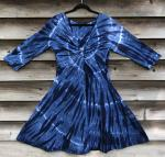 SIZE XL 2-Tone Indigo Spiral Twisted Front 3/4 Sleeve Dress