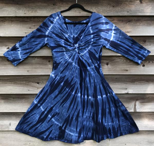 SIZE XL 2-Tone Indigo Spiral Twisted Front 3/4 Sleeve Dress picture