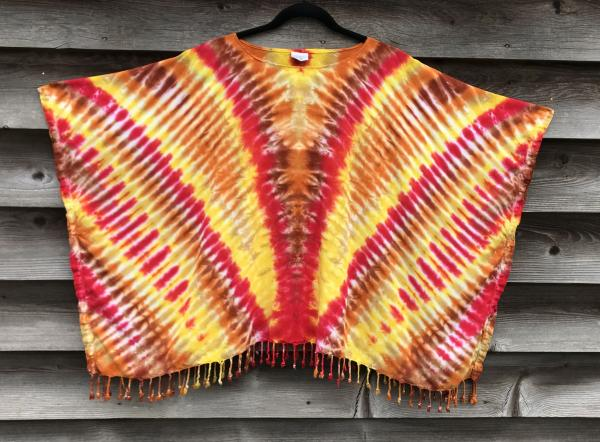Golden Jewels Zipper Rayon Fringed Poncho