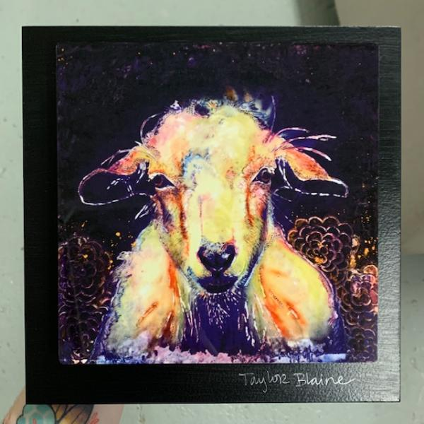 Goat on Metal (8x8)