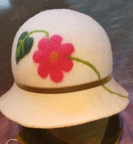 Cloche-White with Pink Flower, Olive Velvet Band (2)