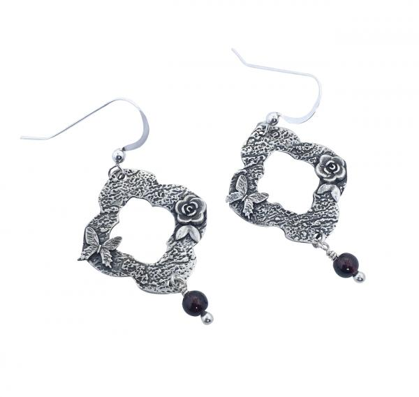 Fine Silver Earrings - Victorian/Garnet