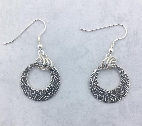 Fine Silver Earrings - Cut Out Circle Dangle