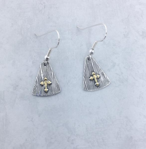 Fine Silver Earrings - Gold-Plated Cross Earrings