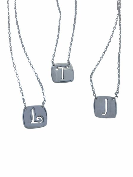 Fine Silver Necklace - Cut Out Initial