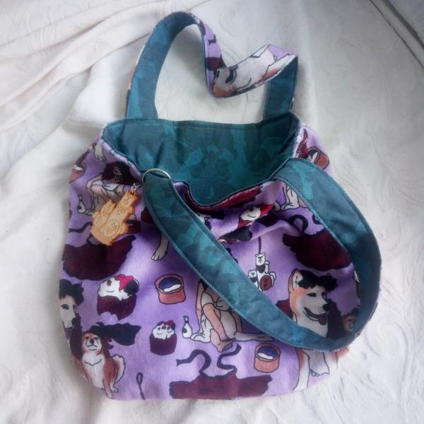 Reversible fuzzy gabber purse (Creepy Dollhouse x Blossoms and Breezes)