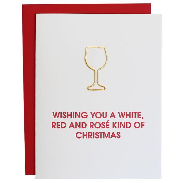 White, Red and Rose Christmas Card