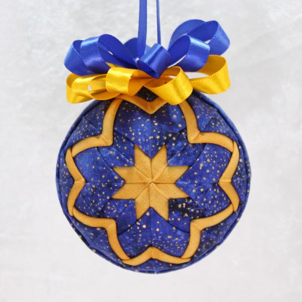 Blue or Red & Gold Quilted Star Ornament