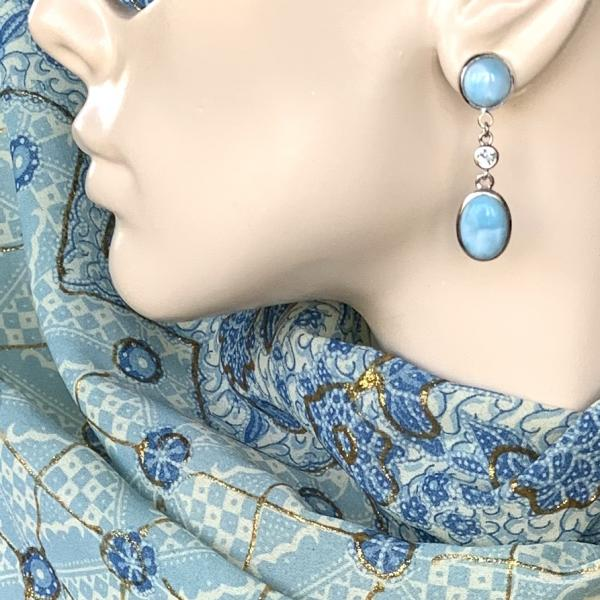 Larimar and Sky Blue Topaz drop earrings