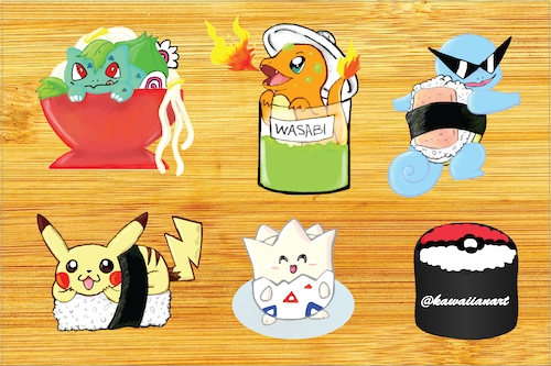 Pokemon Sushi Sticker Sheet