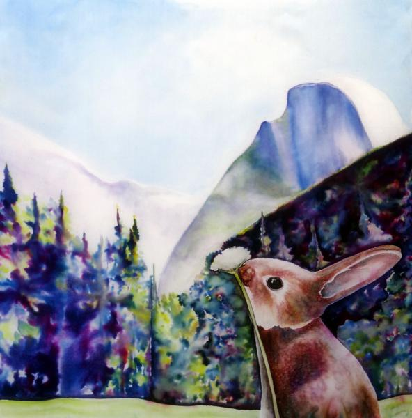 Original Silk Painting, Yosemite Easter