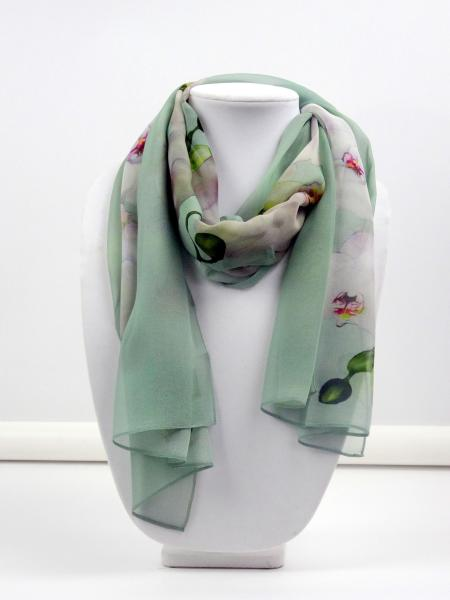 Angelic Orchid Sheer Silk Scarf, Sea Glass