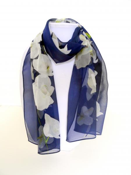 White Tropical Orchids on Navy