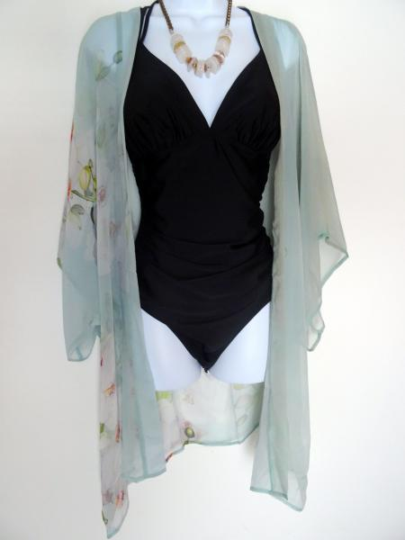 Angelic Orchids Kimono Cover-Up, Sheer, Sea Glass picture