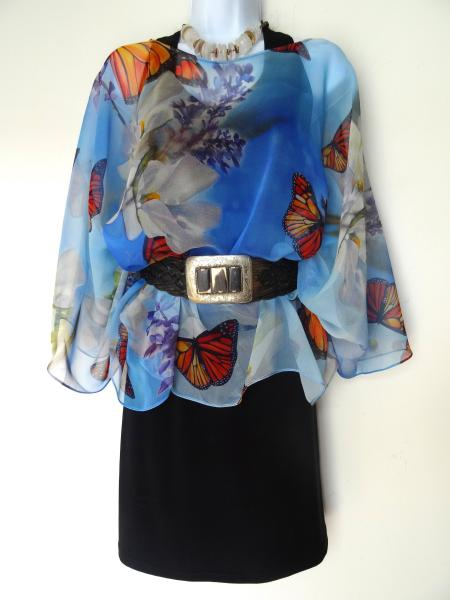 Monarch Butterflies & Floral Poncho - Cover Up - Sheer Poncho - Sheer Caftan