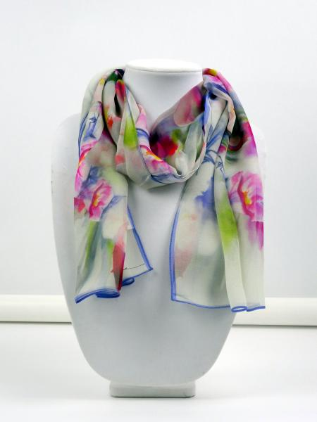 Cherry Blossoms Watercolor Sheer Silk Scarf, Lavender border
