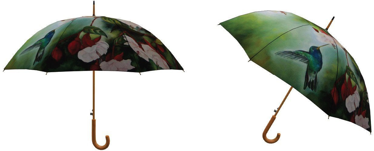 "Artful Umbrella - ""En Pointe"" Hummingbird and Fuschias"