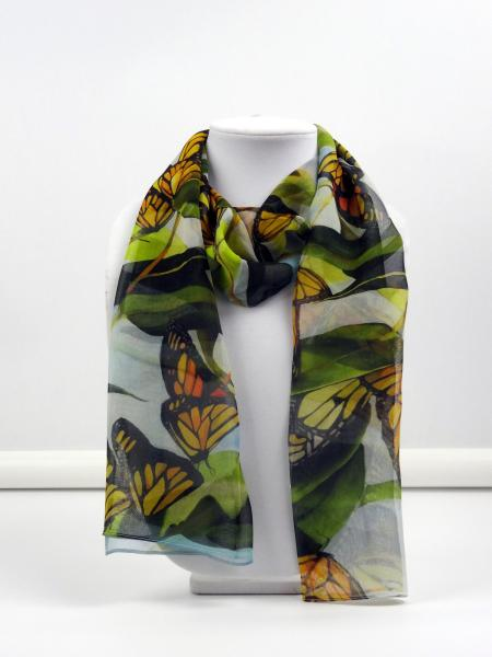 Monarch Dance Sheer Silk Scarf picture