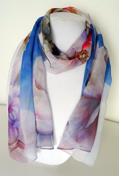 Blessings Hummingbird/Peony Sheer Silk Scarf on Blue