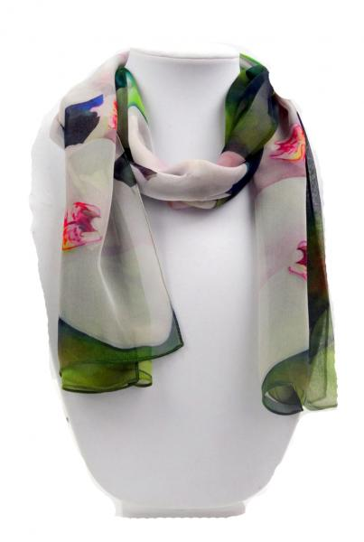 Angelic Orchid Sheer Silk Scarf