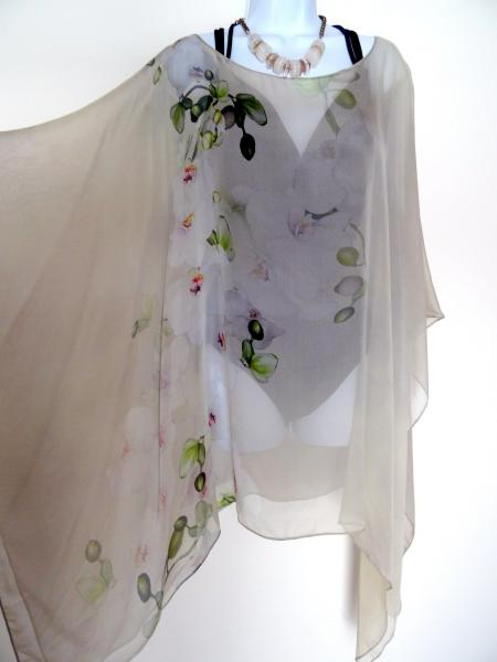 Beige Floral Poncho - Beige Cover Up - Orchids Sheer Poncho - Sheer Caftan