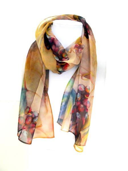 At the Villa Wine Clusters Sheer Silk Scarf