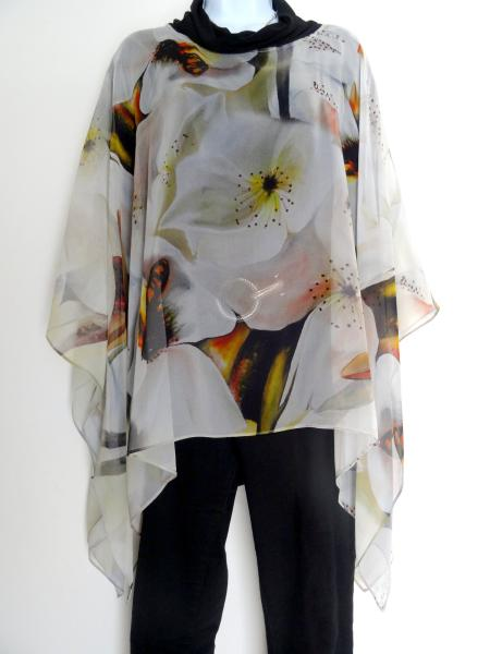 Asian Pear Blossoms & Bumble Bees Poncho - Cover up - Sheer Poncho - Caftan