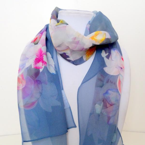 Lotus Sheer Silk Scarf, Desert Storm (gray-blue)
