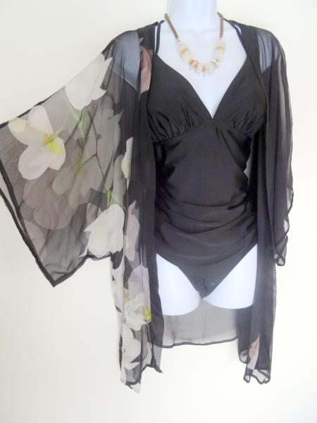 Orchids with Love, Kimono Cover-Up, Sheer, Black