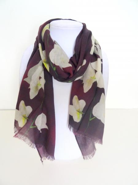 White Orchid Spray on Burgundy/Merlot Wool Scarf