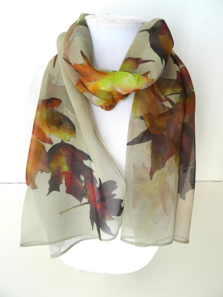 Fall Maple Leaves Sheer Silk Scarf, on Sand