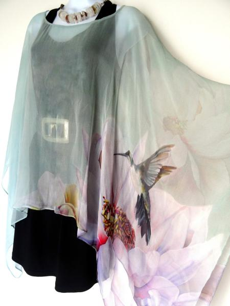 Hummingbirds & Peony Flowers Sheer Cover up - Caftan - Poncho
