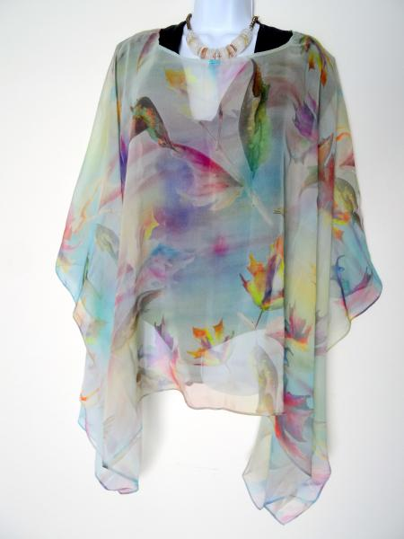 Pastel Hummingbirds & Leaves Sheer Cover up - Caftan - Poncho