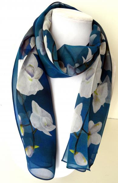 White Tropical Orchids on Prussian Blue